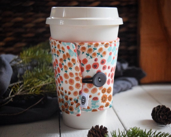Reversible Coffee Sleeve | Coffee Cup Cozy, Tea Cuff, meadow frolic cream