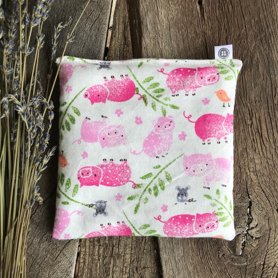 Rice Pack Minis | little pigs in flannel fabric, Aromatherapy rice bag, hot and cold therapy, Flax Seed, Microwaveable Rice Heat Pad