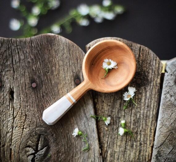 Coffee Scoop | hickory with painted handle,  Handmade Wooden Spoon, Measureing Spoon, Coffee Scoop, Walnut Wood