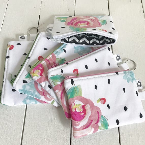 Change Purse | Rose Zipper Pouch, Credit Card Holder, Cotton