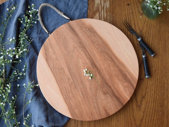 the Bordeaux | Rustic Hickory bread board with rope handle, cheese board, cutting board, serving board