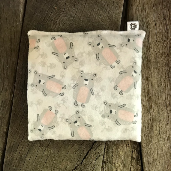 Rice Pack Minis | bears in pink, Flannel Aromatherapy rice bag, hot and cold therapy, Flax Seed, Microwaveable Rice Heat Pad