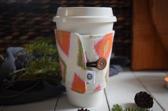 Reversible Coffee Sleeve | Coffee Cup Cozy, Tea Cuff, pink and orange