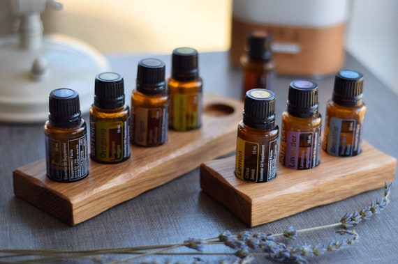 Essential Oil Tray | White Oak 15ml Wooden Display Stand or Holder, Essential Oil Organizer
