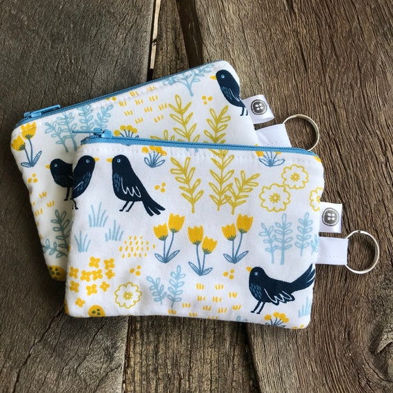 Change Purse | Blue Bird Zipper Pouch, Credit Card Holder, Cotton
