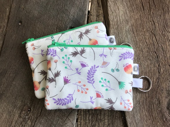 Change Purse | Spring Garden Zipper Pouch, Credit Card Holder, Cotton