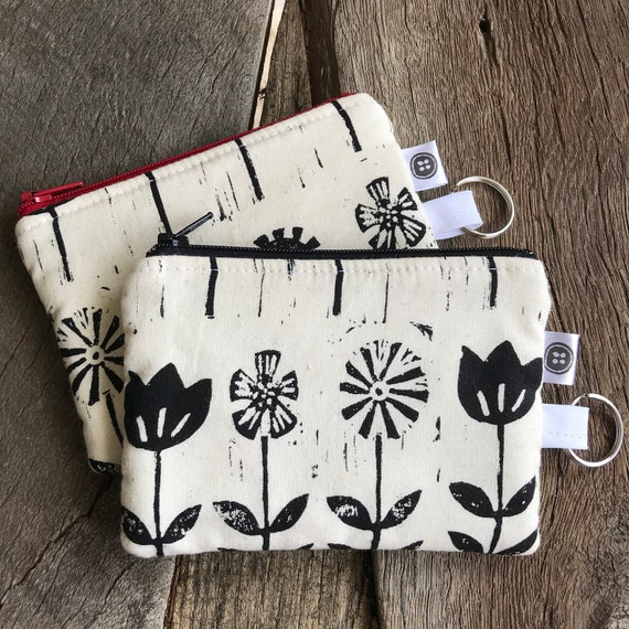 Change Purse | Black Flower Zipper Pouch, Credit Card Holder, Cotton