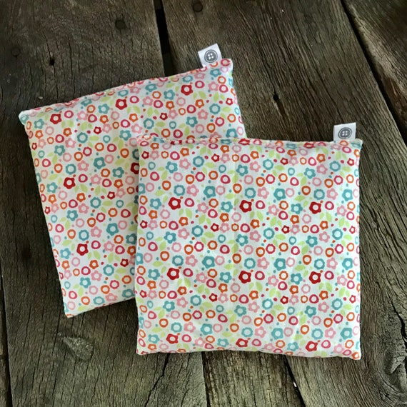 Rice Pack Minis | white with flowers, Aromatherapy rice bag, hot and cold therapy, Flax Seed, Microwaveable Rice Heat Pad