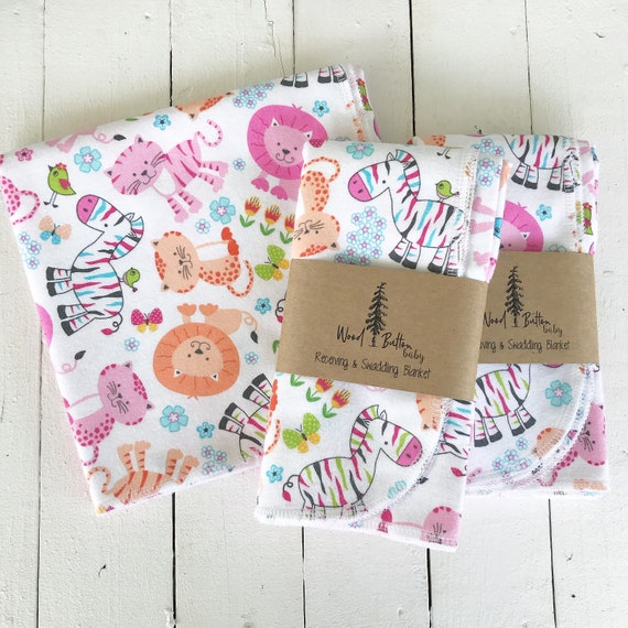 Baby Receiving Blankets | Jungle Cats Swaddling Blanket, Stroller Blanket, Flannel