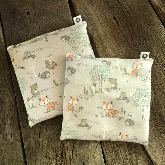 Rice Pack Minis | forest critters, Flannel Aromatherapy rice bag, hot and cold therapy, Flax Seed, Microwaveable Rice Heat Pad