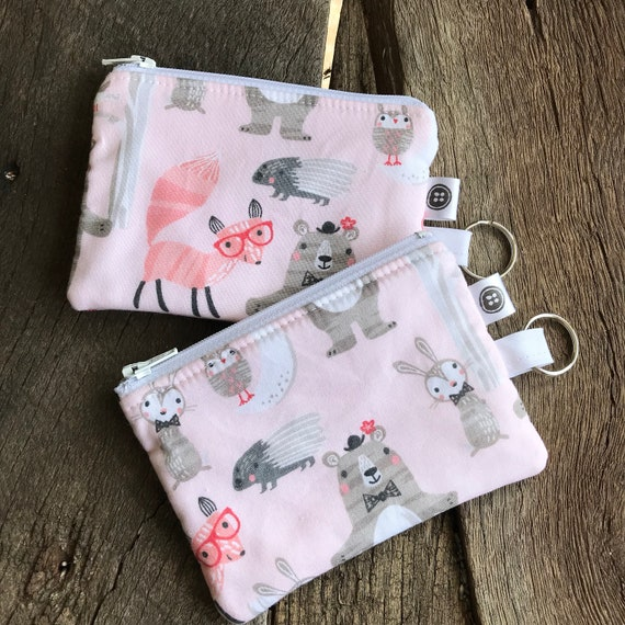 Change Purse | Fancy Forest Friends Zipper Pouch, Credit Card Holder, Cotton