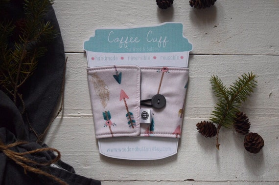 Reversible Coffee Sleeve | Coffee Cup Cozy, Tea Cuff, pink arrow