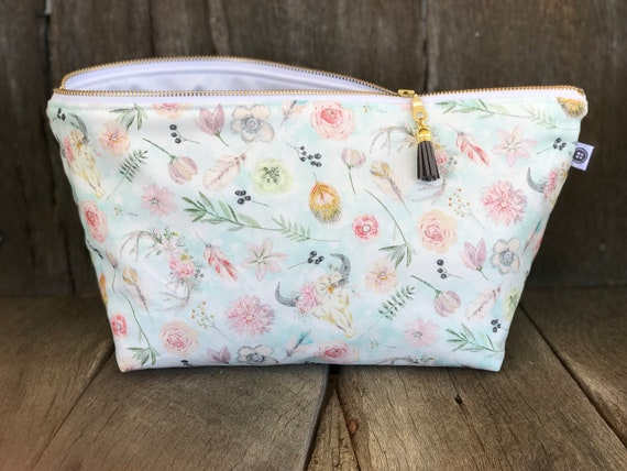 Extra Large Water Resistant Bag | Desert Rose | Make-Up Bag, Zipper Pouch, Wet Bag, Travel Bag, Cotton
