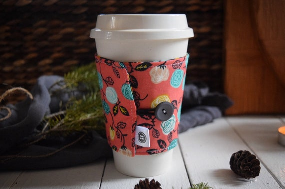 Reversible Coffee Sleeve | Coffee Cup Cozy, Tea Cuff, meadow frolic coral