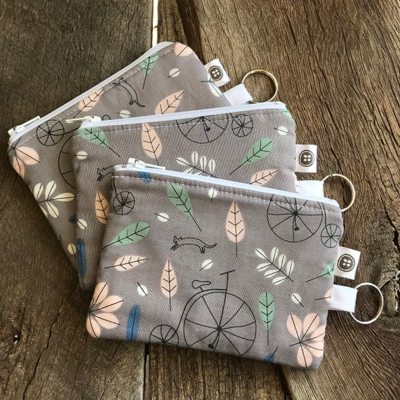 Change Purse | Bicycles and Cats Zipper Pouch, Credit Card Holder, Cotton