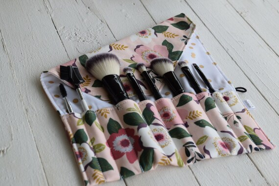 Makeup Brush Roll | Travel Organizer, Makeup Brush Case, Holder, floral with gold dots