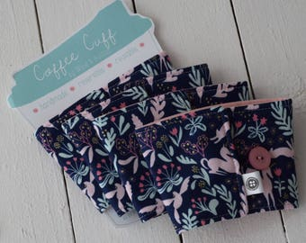 Reversible Coffee Sleeve | Coffee Cup Cozy, Tea Cuff, wild and free