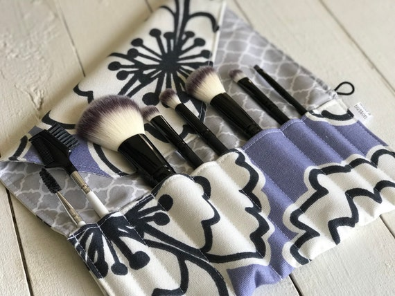 Makeup Brush Roll | Travel Organizer, Makeup Brush Case, Holder, lilacs