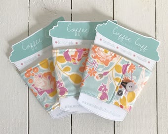 Reversible Coffee Sleeve | Orchard Blossom Coffee Cup Cozy, Tea Cuff