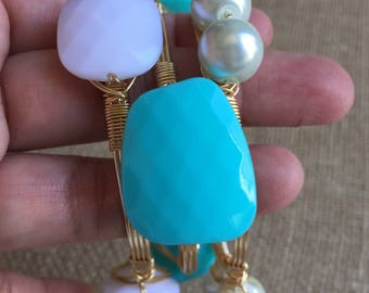 Wire wrapped bangles, Stackable bracelets, Teal, white and pearl bracelet set.