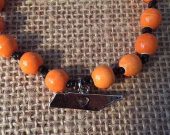 Knotted bracelet, University of Tennessee bracelet, UT bracelet with Tennessee charm, Go vols
