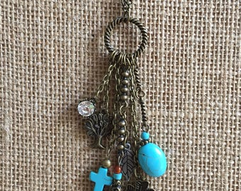 Tassel  with Turquoise charms necklace, Long necklace, Charm necklace