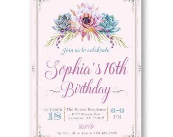 16th Birthday Invitations Spanish Quinceanera Invitation Girl Invite