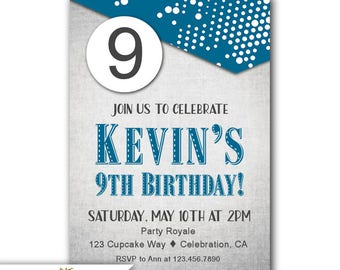 9th Birthday Invitation Boy Blue Party Invites Boys Invitations Printable Invite Or Printed