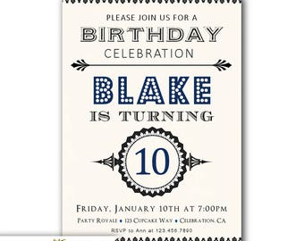 boys 10th birthday invite 10th birthday invitations for boys etsy