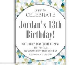 Skateboarder invite etsy boys 13th birthday invitation 13th birthday invite birthday party invitation for teen boys printable or printed 13th birthday invites filmwisefo