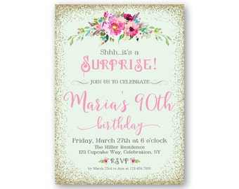 90th Surprise Birthday Party Invitations Womens Milestone 80th 100th For Her