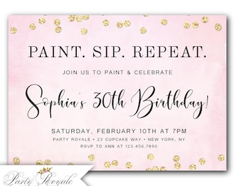paint and sip invite etsy