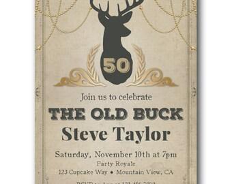 50th Birthday Invitations For Men Invite Old Buck Hunting Deer Theme Invitation Printed Or Digital