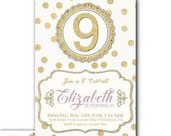 Gold 9th Birthday Invitation Girl Printable Invitations Or Printed Party Invites Faux Glitter Invite