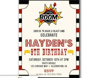 Boys 9th Birthday Invitations Party Invites Printable For OR Printed Invite A Boy