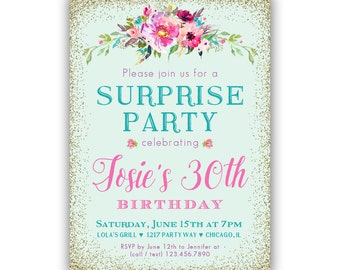 Adult Birthday Invitations For Her Surprise 30th Party Invites Womens Girls