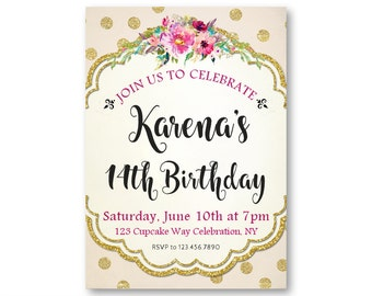 14th birthday invite etsy