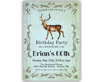60th Birthday Invitations For Men Rustic Invitation 30th 40th 70th 80th 90th Deer Old Buck Hunting Theme Style Invite