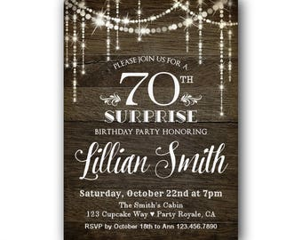 70th Surprise Birthday Invitation Invitations For Her Party Womans