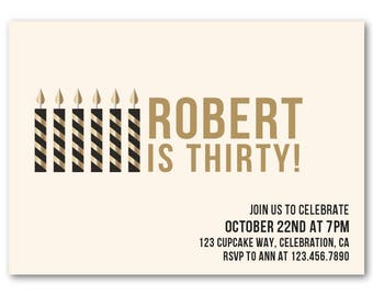 30th Birthday Invitations For Him Invitation Male Black And Gold Mens Printable Invites Or Printed
