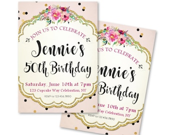 Pink 50th Birthday Invitations For A Woman Shabby Chic Style Milestone Birthdays 30th 40th 60th Any Age And Faux Gold Glitter