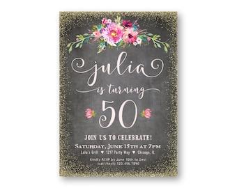 60 Invitaciones De Cumpleaños 60 Años De Las Mujeres Etsy