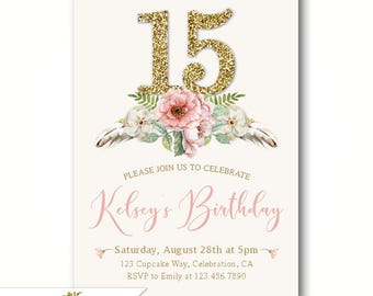 Teen birthday invite etsy boho 15th birthday invitations for girls teen birthday party invites 13th 14th 15th or any age girl faux gold glitter number 15 tribal filmwisefo