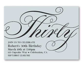 30th Birthday Invitations For Men Him Adult Invitation Elegant Calligraphy Invites
