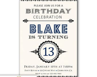 13th Birthday Invites Boy Teen Invitations Etsy