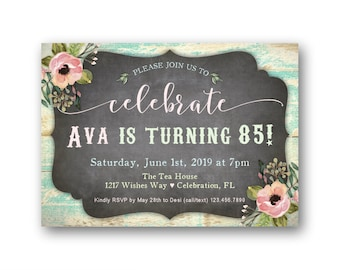 Womens 85th Birthday Party Invitations Any Age For Her 70th 80th 100th