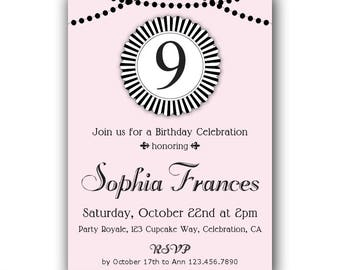 9th Birthday Invitation 10th 11th Girls Pink And Black Invites Kids