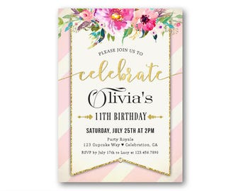 Pink And Gold Girls Birthday Invitations Kids Party Invitation 11th Girl 10th 9th Any Age