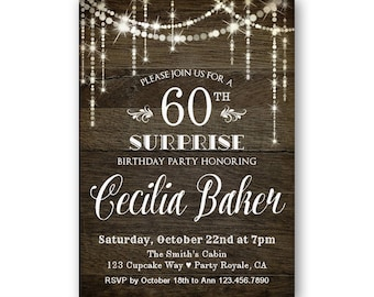 Surprise 40th Birthday Invitation For Her Surprise Party Etsy