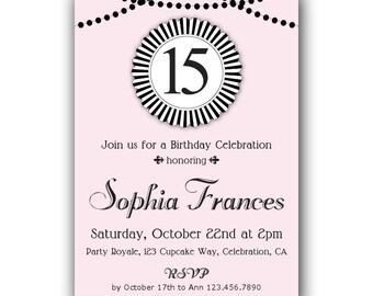 15th birthday invitation etsy 15th birthday invitation 14th birthday invitation 13th birthday invitation pink and black birthday invitations for teen girls filmwisefo